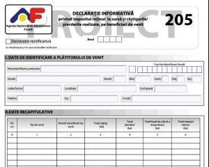 Pentru ce tipuri de venituri trebuie depus formularul 205