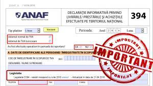 ANAF aduce noi modificari Declaratiei 394: formularul va fi completat din octombrie in loc de august?