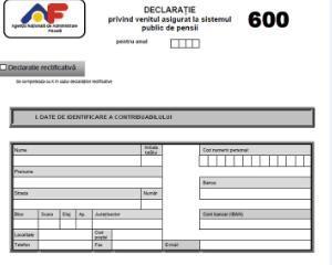 Ordinul ANAF nr. 3655/2015 - aprobarea modelului formularului 600